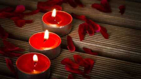 candles, petals, surface