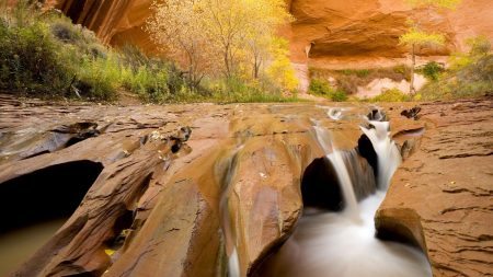 canyon, water, stream