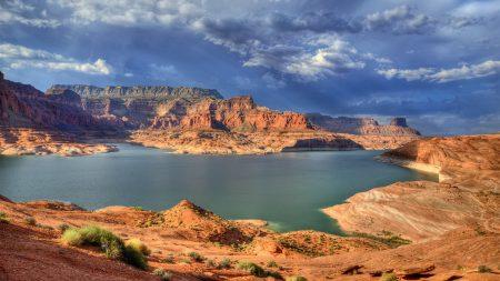 canyons, lake, bushes
