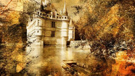 castle, boat, water