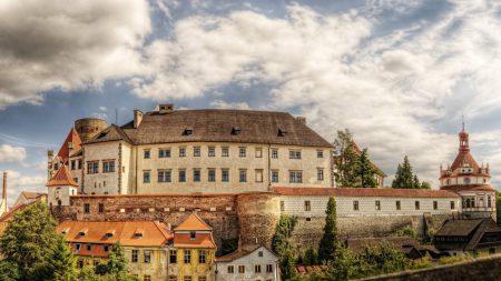 castle, buildings, trees