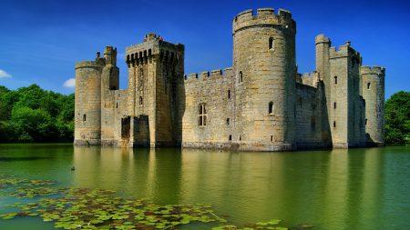 castle, lake, stone