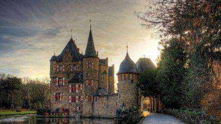 castle, lake, tower