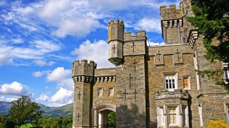 castle, manor, grass