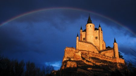 castle, rainbow, sky