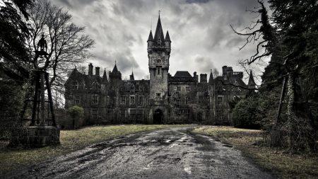 castle, road, gray
