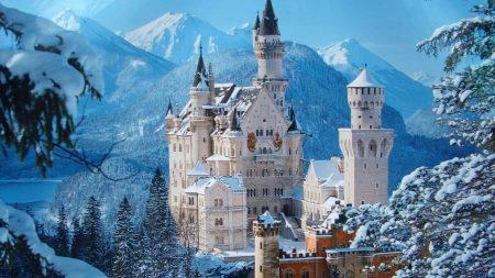 castle, snow, mountains