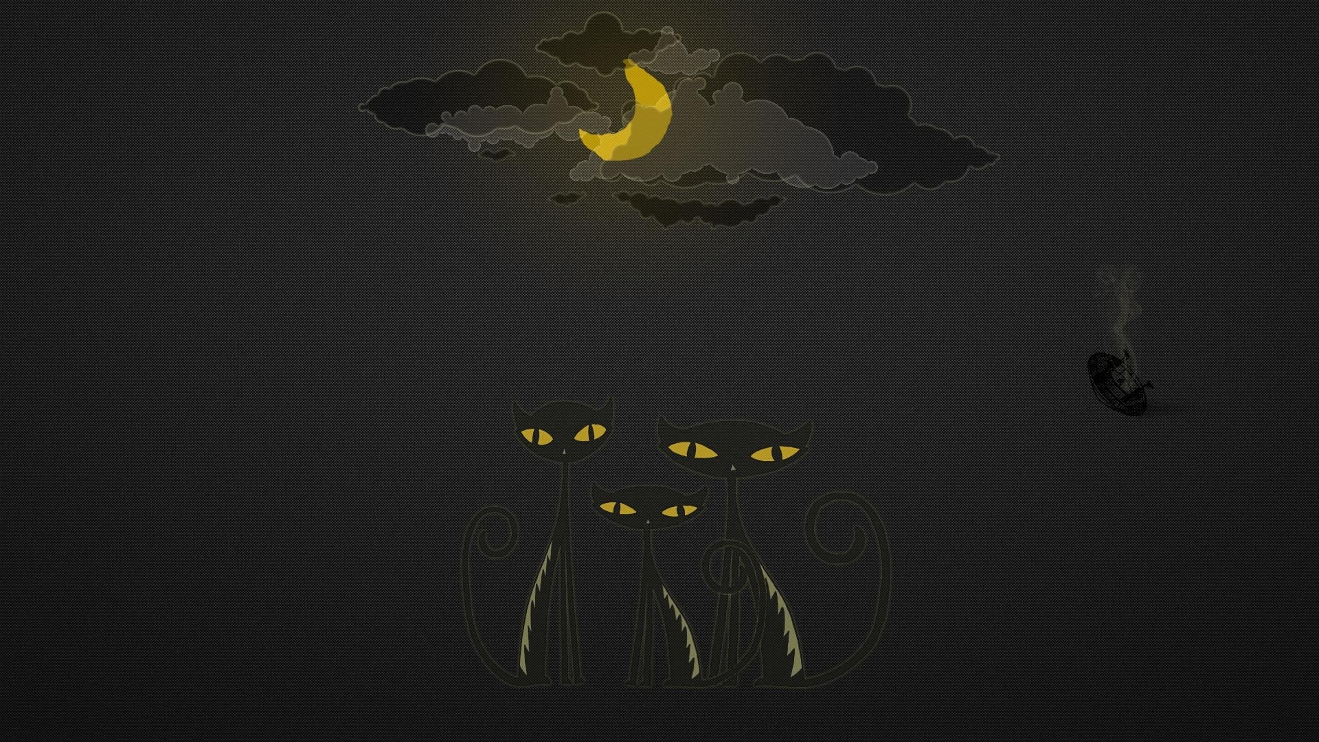Download Wallpaper 1920x1080 Cats Drawing Black Yellow Sky Full Hd 1080p Hd Background