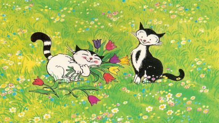 cats, meadow, flowers