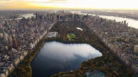 central park, panorama, night