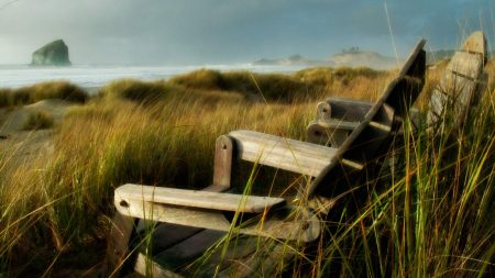 chairs, grass, sea