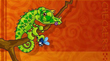 chameleon, reptile, green