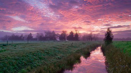 channel, river, fields