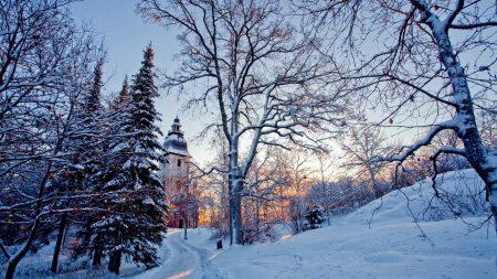 chapel, wood, winter