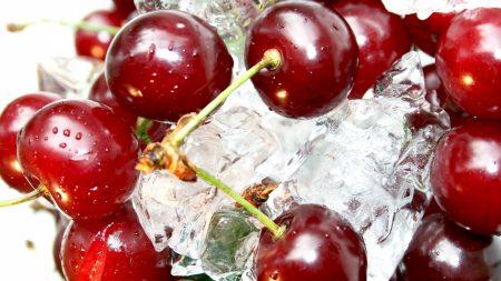 cherry, ice, red