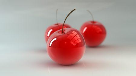 cherry, three, red
