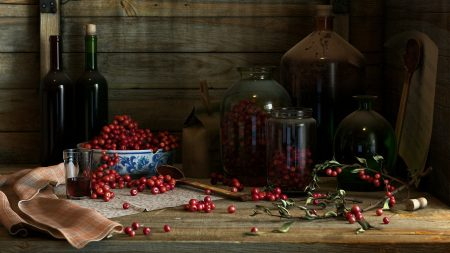 cherry, wine, house