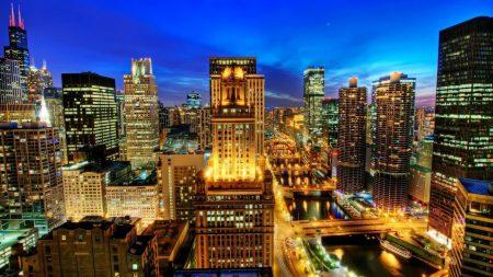 chicago, city, night
