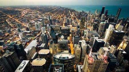 chicago, skyline, city lights