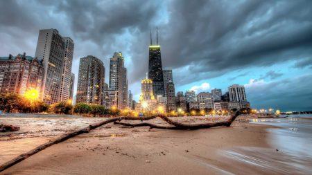 chicago, skyscraper, beach