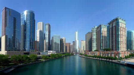 chicago, skyscrapers, river