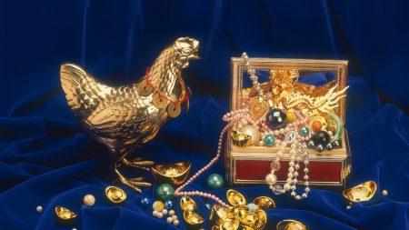 chicken, figurine, gold