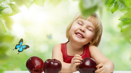 child, apple, smile
