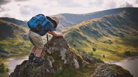 child, backpack, mountains