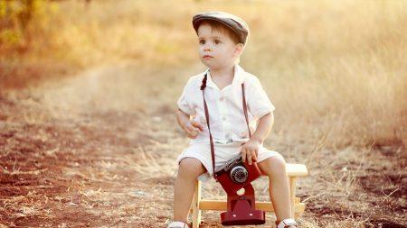 child, boy, camera