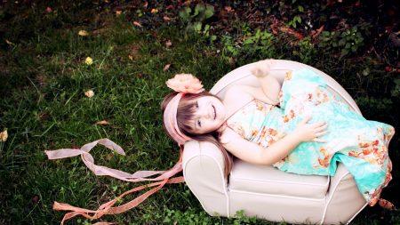 child, chair, grass
