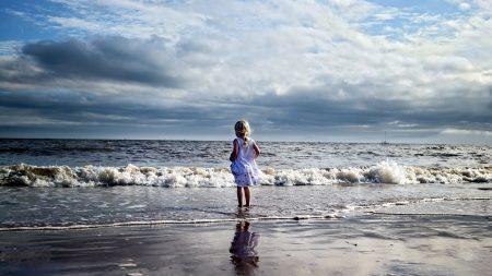 child, girl, beach