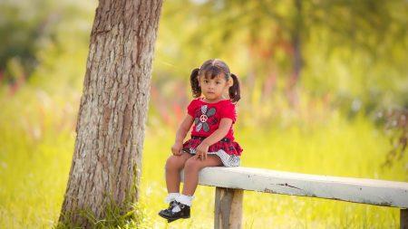 child, girl, bench
