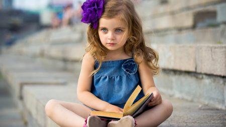 child, girl, book