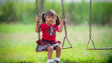 child, girl, swing
