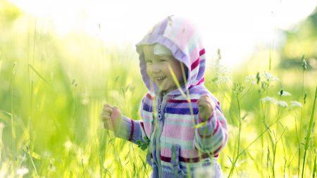 child, grass, cardigan