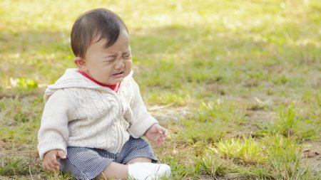 child, grass, crying
