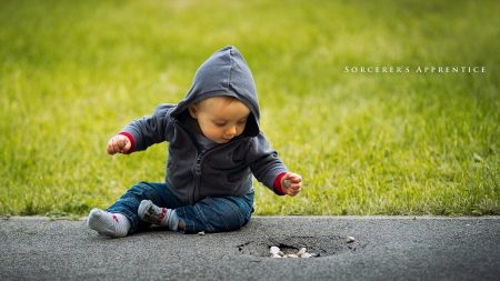 child, grass, road