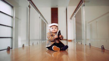 child, hallway, bathroom