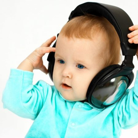 child, headphones, face