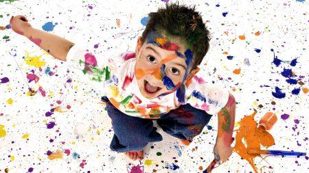 child, paint, spray
