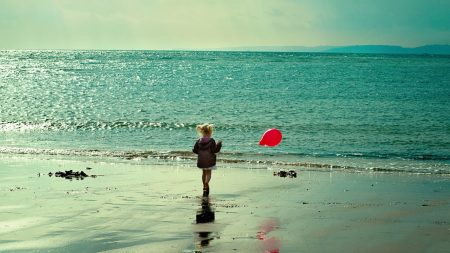 child, sea, ball