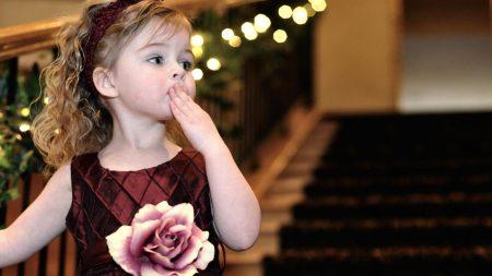 child, stairs, dress