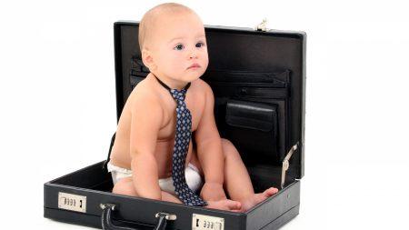 child, suitcase, tie