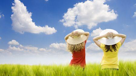 children, field, girls