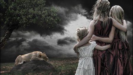 children, girls, lion