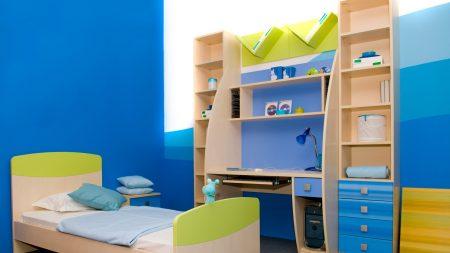 childrens room, bed, wardrobe
