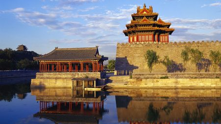 china, building, water