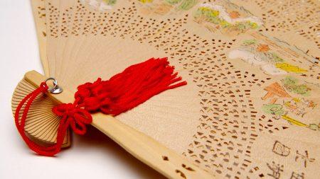 china, fan, red