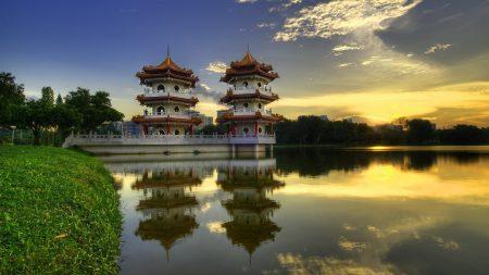 china, pagodas, lake