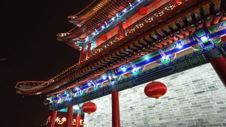 china, roof, lights